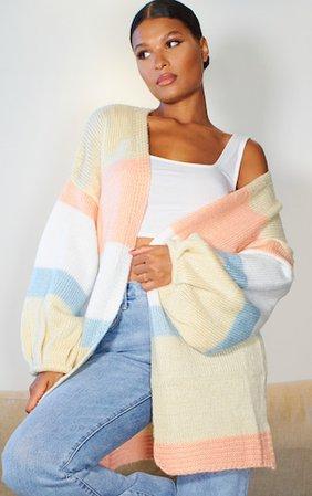 Multi Striped Pastel Colour Block Cardigan   PrettyLittleThing