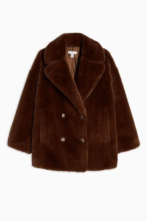 Soft Faux Fur Double Breasted Coat | Topshop brown