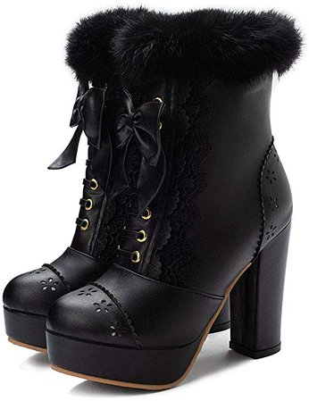 Vimisaoi Women's Sweet Lolita Ankle Boots, Platform Chunky High Heels Fur Bow Party Dress Booties | Ankle & Bootie