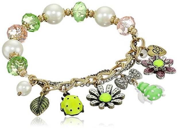 "Betsey Johnson ""Vintage Bugs"" Multi-Half Charm Stretch Bracelet: Clothing"
