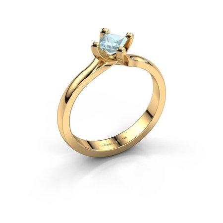 Moderne gouden Dewi Square solitaire ring met 4 mm aquamarijn|-30%