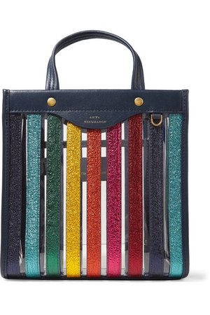 Anya Hindmarch | Paneled metallic textured-leather and PVC tote | NET-A-PORTER.COM