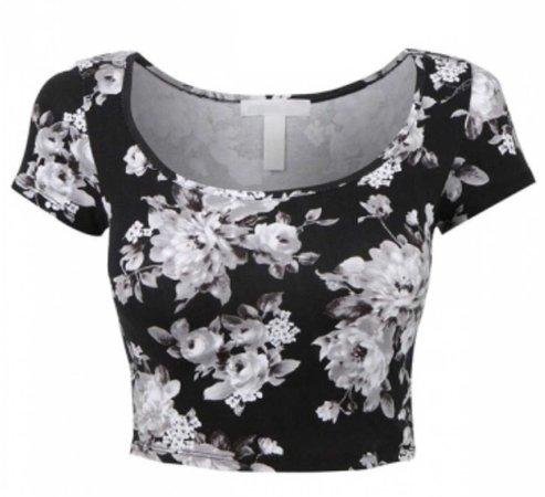 floral black top