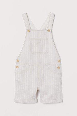 Seersucker Bib Overall Shorts - Beige