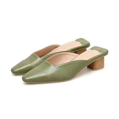 Amazon.com | Crush You Summer Slippers Women Shoes Medium Heels Retro Mules Sandals Round Toe Female Slides | Mules & Clogs