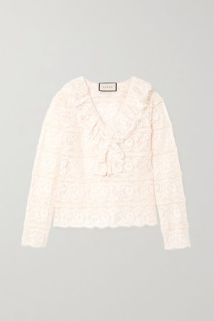 White Ruffled cotton-blend lace blouse | Gucci | NET-A-PORTER