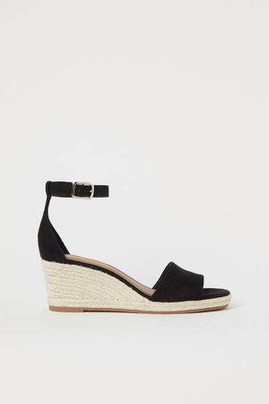 Wedge-heeled Sandals - Black