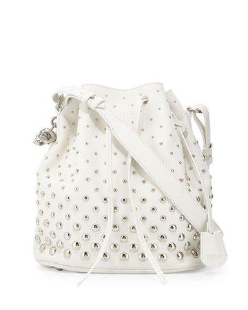 Alexander McQueen Studded Padlock Bucket Bag, White