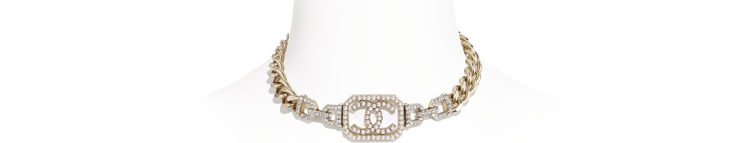Choker, metal, imitation pearls & diamanté, gold, pearly white & crystal - CHANEL