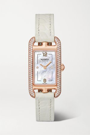 Rose gold Nantucket 17mm very small 18-karat rose gold, alligator, mother-of-pearl and diamond watch | Hermès Timepieces | NET-A-PORTER