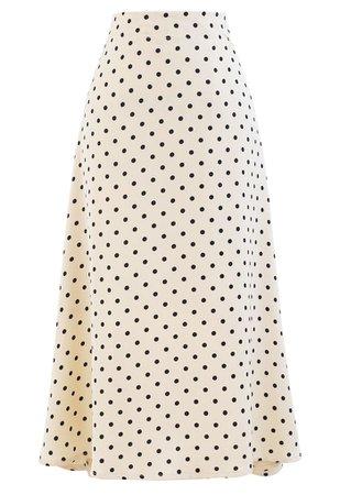 Polka Dots Midi Slip Skirt in Cream - Retro, Indie and Unique Fashion
