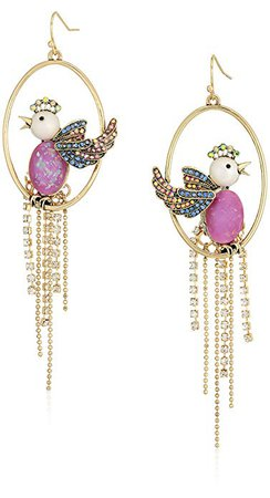 "Betsey Johnson ""Blooming Betsey"" Purple Bird Cage Orbital Drop Earrings, One Size: Jewelry"