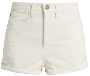 Low Cut Off Denim Shorts - Womens - White