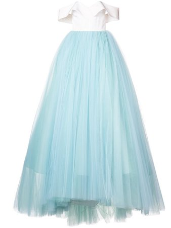 Christian Siriano White and blue silk crepe tulle skirt ball gown