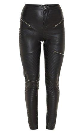 Black Faux Leather Biker Trouser | Trousers | PrettyLittleThing