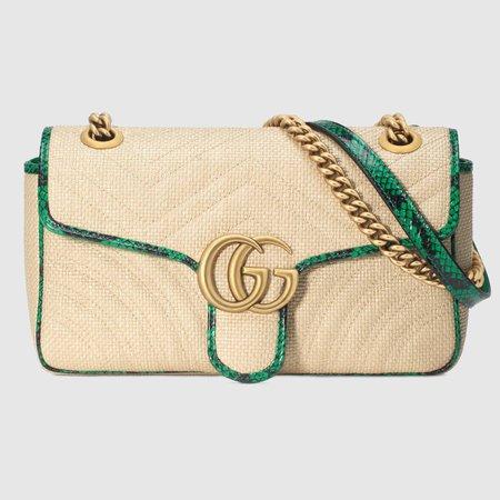 Online Exclusive GG Marmont raffia small shoulder bag - Gucci Chain Bags 443497GZ6AE9574