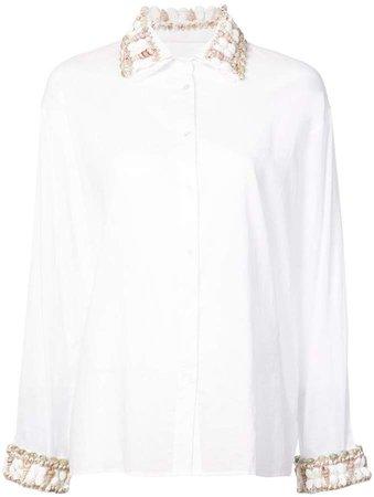 sea shell trim button-down shirt