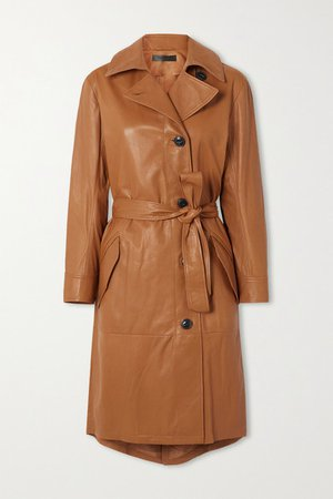 Belted Leather Trench Coat - Beige