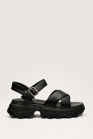 Faux Leather Cross Strap Walled Chunky Sandal | Nasty Gal