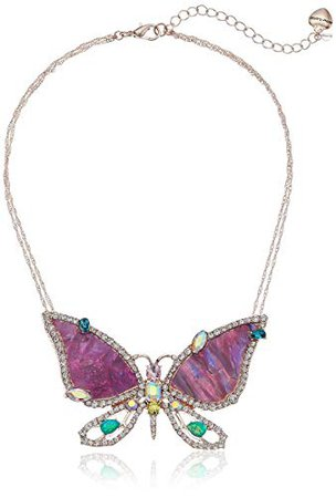 """Betsey Johnson """"Paradise Lost"""" Purple Butterfly Pendant Necklace, One Size: Clothing"""