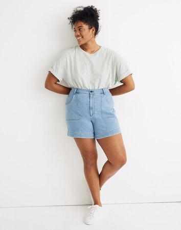 High-Rise Cuffed Denim Shorts in Light Indigo