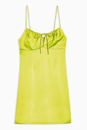 PETITE Neon Yellow Gathered Bust Slip Dress | Topshop