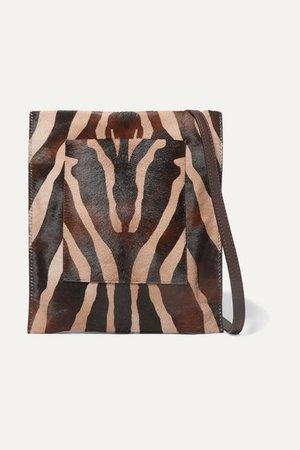 Leather-trimmed Zebra-print Calf Hair Shoulder Bag - Zebra print