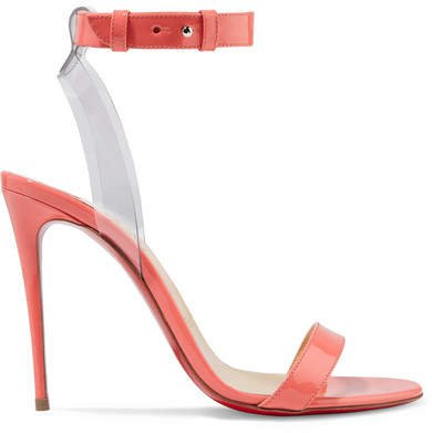 Jonatina 100 Pvc-trimmed Patent-leather Sandals - Peach
