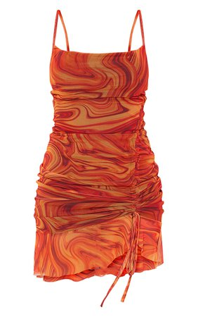 Orange Mesh Marble Print Ruched Bodycon Dress | PrettyLittleThing USA