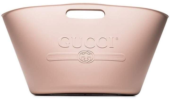 pink embossed rubber beach bag