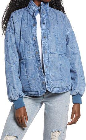 Quilted Denim Puffer Jacket