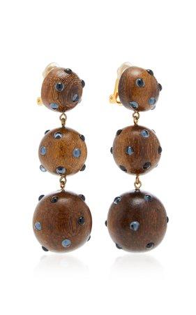 Classic Three Drop Dark Wood and Denim Earrings by Rebecca de Ravenel | Moda Operandi