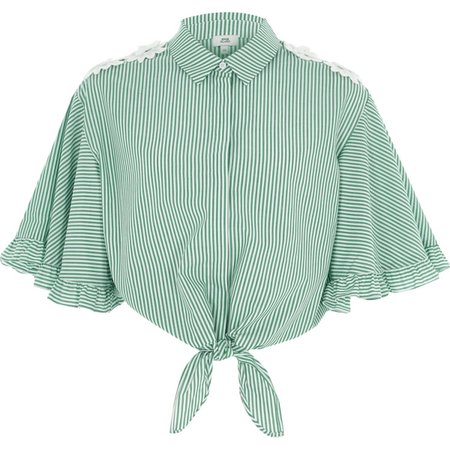 Green stripe tie front cropped shirt - Crop Tops / Bralets - Tops - women
