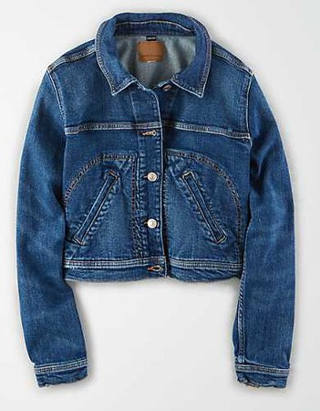 AE Cropped Denim Jacket blue