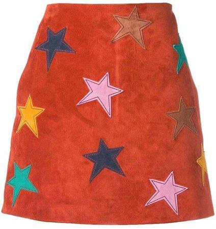 star patch mini skirt