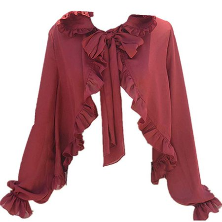 Sweet Women's Long Sleeve Hooded Chiffon Blouse Sunscreen Shawl Cape Lolita Shirt (Red, L-XL) at Amazon Women's Clothing store