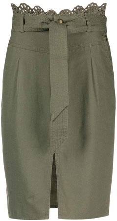 tie-waist pencil skirt