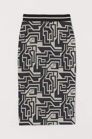 Jacquard-knit Pencil Skirt - Gray