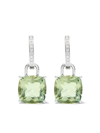 Kiki Mcdonough 18Kt White Gold Kiki Classics Cushion Cut Green Amethyst And Diamond Earrings | Farfetch.com