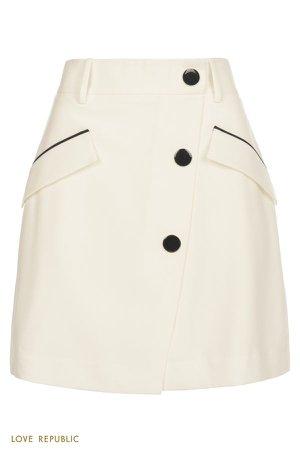 Белая юбка мини с контрастными деталями 0357244211-1 - купить в интернет-магазине LOVE REPUBLIC по цене: 970 руб