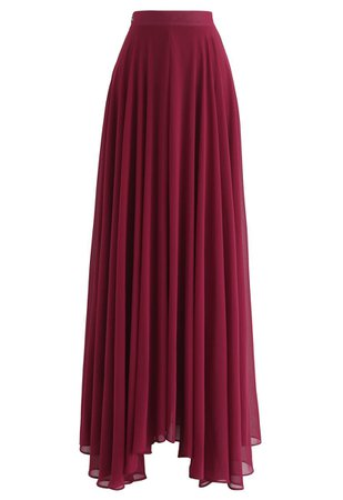 Timeless Favorite Chiffon Maxi Skirt in Wine - Retro, Indie and Unique Fashion