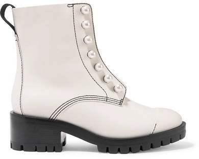Hayett Faux Pearl-embellished Leather Ankle Boots - White