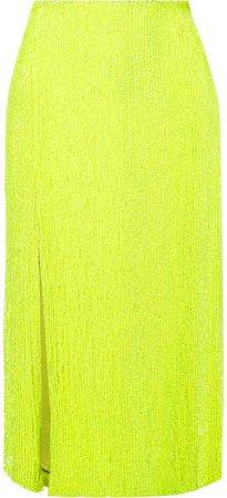 Veronica Sequined Chiffon Midi Skirt - Yellow