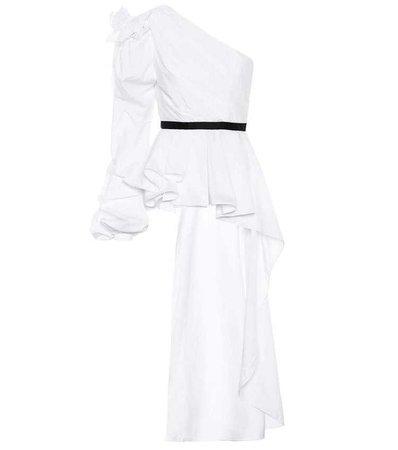 Johanna Ortiz Malina One-Shoulder Grosgrain-Trimmed Ruffled Cotton-Poplin Top in White
