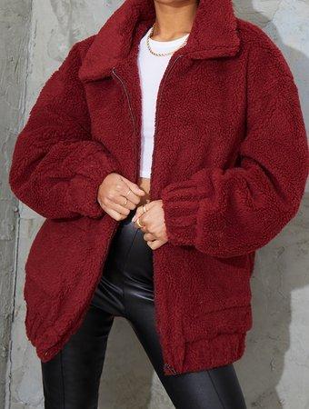 Red cozy coat