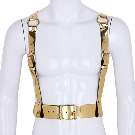 ACSUSS Unisex Fashion Punk Faux Leather Adjustable Body Straps Harness Belt Clubwear Type B Gold One Size at Amazon Women's Clothing store