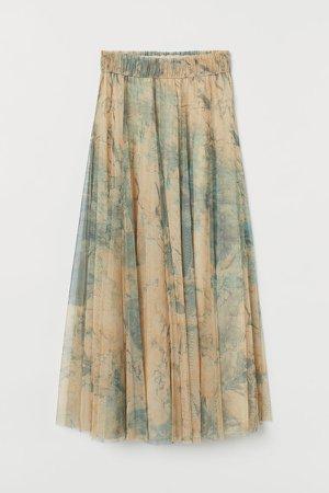 Tulle Circle Skirt - Beige