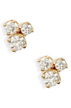 Zoë Chicco Three-Diamond Prong Stud Earrings   Nordstrom