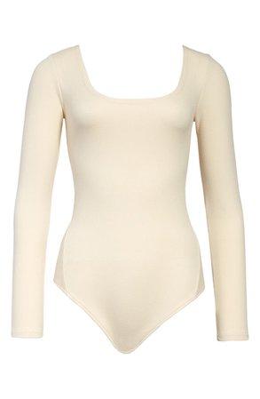 AllSaints Jamie Long Sleeve Ribbed Bodysuit | Nordstrom
