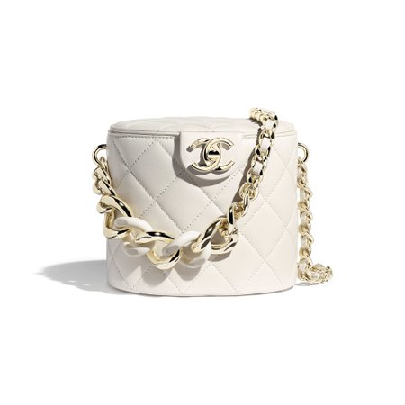 Lambskin, Resin Gold-Tone Metal White Vanity Case | CHANEL